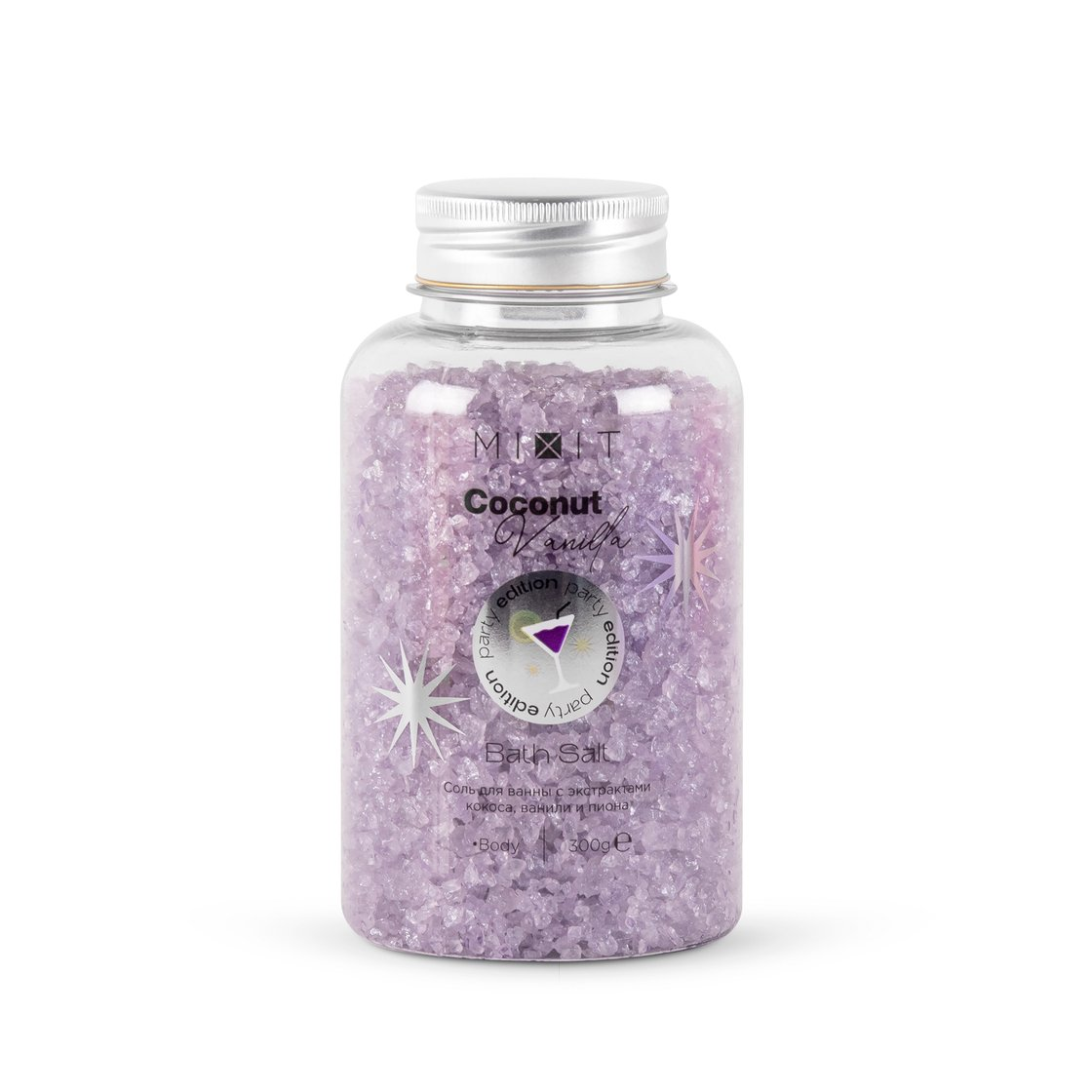 Соль для ванны с экстрактами кокоса, ванили и пиона, 300 г