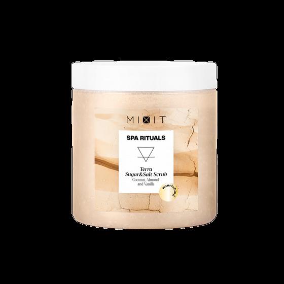 Питательный сахарно-солевой скраб для тела c экстрактами кокоса и миндаля, 250 г.